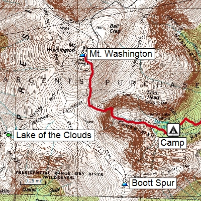 ExpertGPS Map Software showing GPS track and waypoints over USGS topo map of Mt. Washington, NH