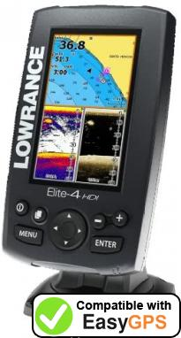 Download your Lowrance Elite-4 HDI Gold waypoints and tracklogs for free with EasyGPS